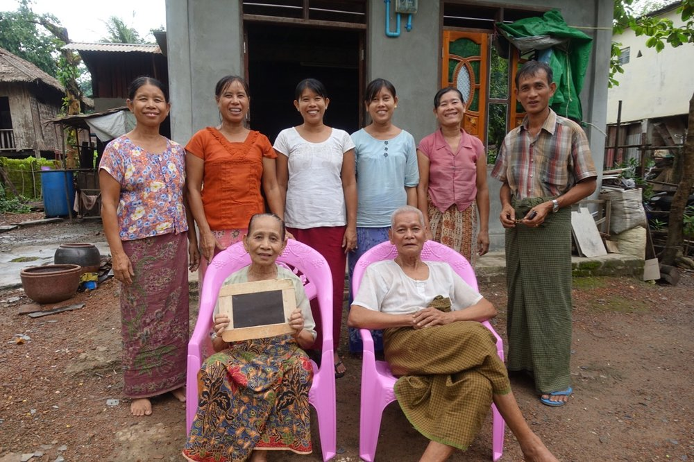 Daw Nwe Kyi and U Tin Aung (front row left to right) with Ma Hla Win, Ma Myint Khaing, Ma Than Swe, Ma Myint Htay and U Aung Khin (back row left to right)