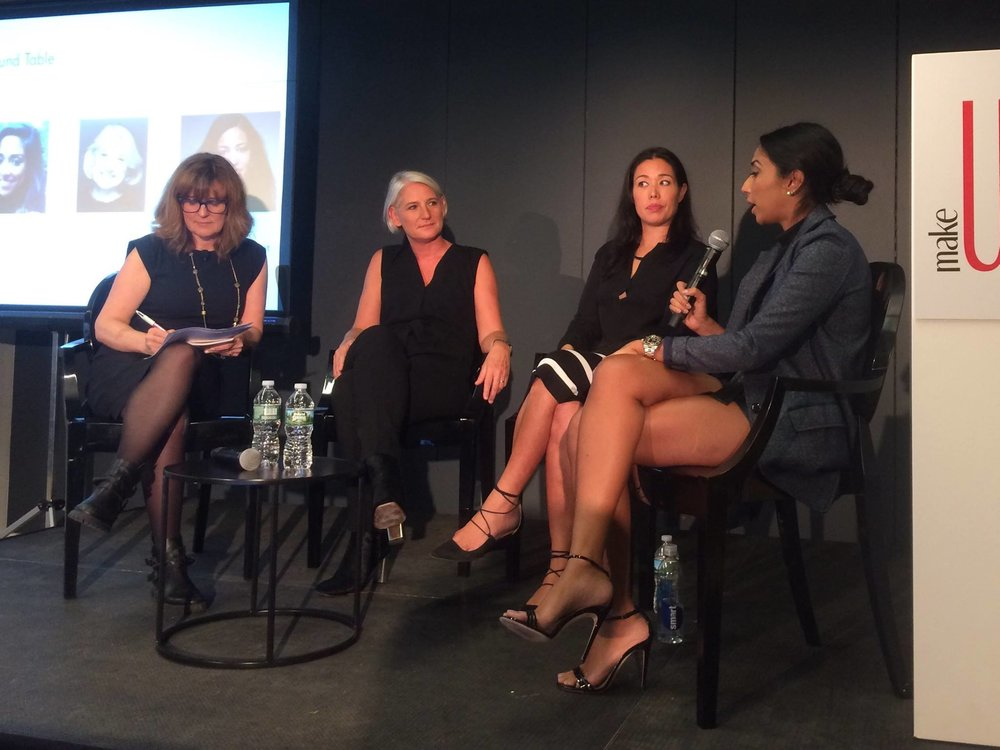 MakeUp in New York - Sept 2017  Roundtable on Legacy brands with Laure de Metz (Laure deMetz-Olivier - Make Up For Ever), Nicole Masson ( Mac Cosmetics) and Trisha Ayyagari (Maybelline) moderated by Leila Rochet