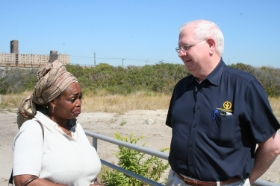"Barry Shade listens to the story of Superstorm Sandy survivor ""Destiny,"" in Far Rockaway, N.Y. (October 2013)"