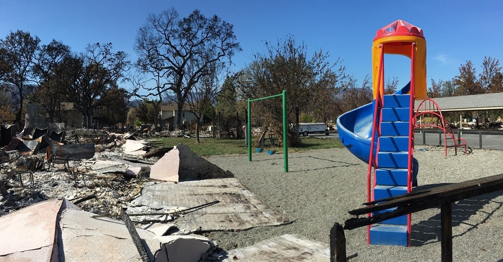 A playground is all that stands after fire burned through this apartment complex. Photo: Vy Nguyen