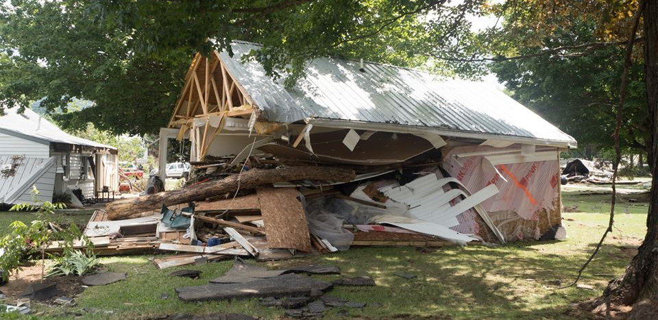 House destroyed by flood in Greenbriar County West Virginia. Photo: Mike Wyatt, Greenbriar Photography