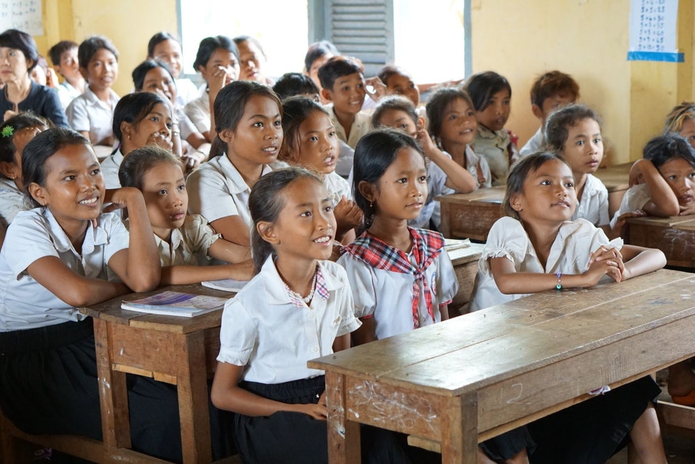 Children learn proper hygiene at a Cambodian school sponsored by Week of Compassion