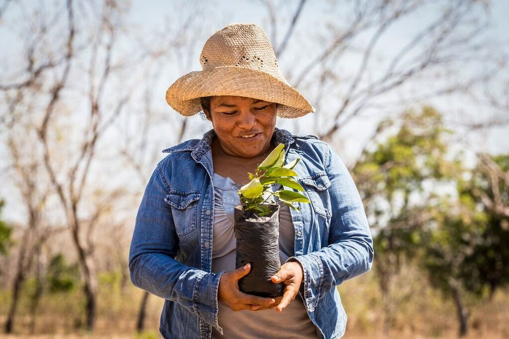 : Luisa Maria Lopez shows off the new citrus seedlings she is planting on her farm in Nicaragua. [photo: Craig Thompson]