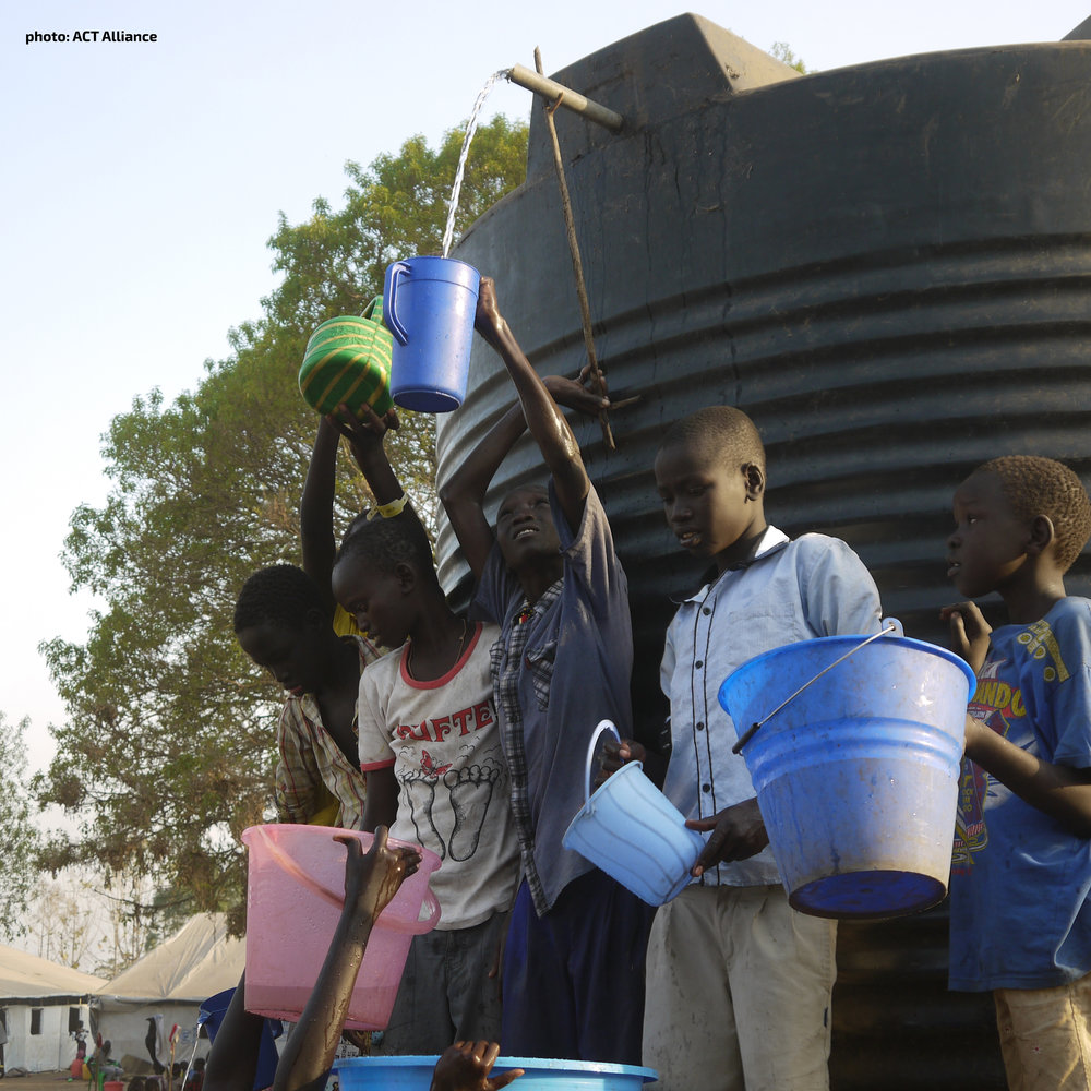 Boys collect clean water at  a refugee camp in Uganda.  [photo: ACT Alliance]