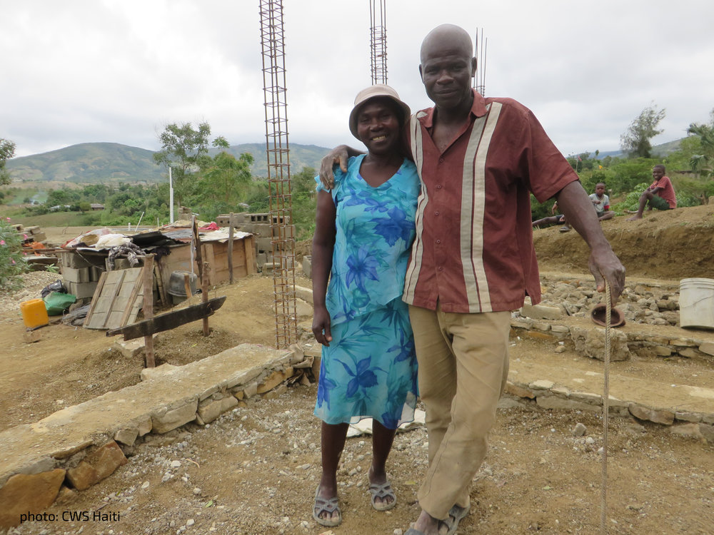 Roger and his wife  worked with our  partners at Church  World Service to  rebuild their home  after Hurricane  Matthew.  [photo: CWS Haiti]