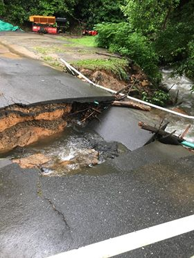 A swollen creek washed out a road at Christmount Retreat, Camp, and Conference Center.