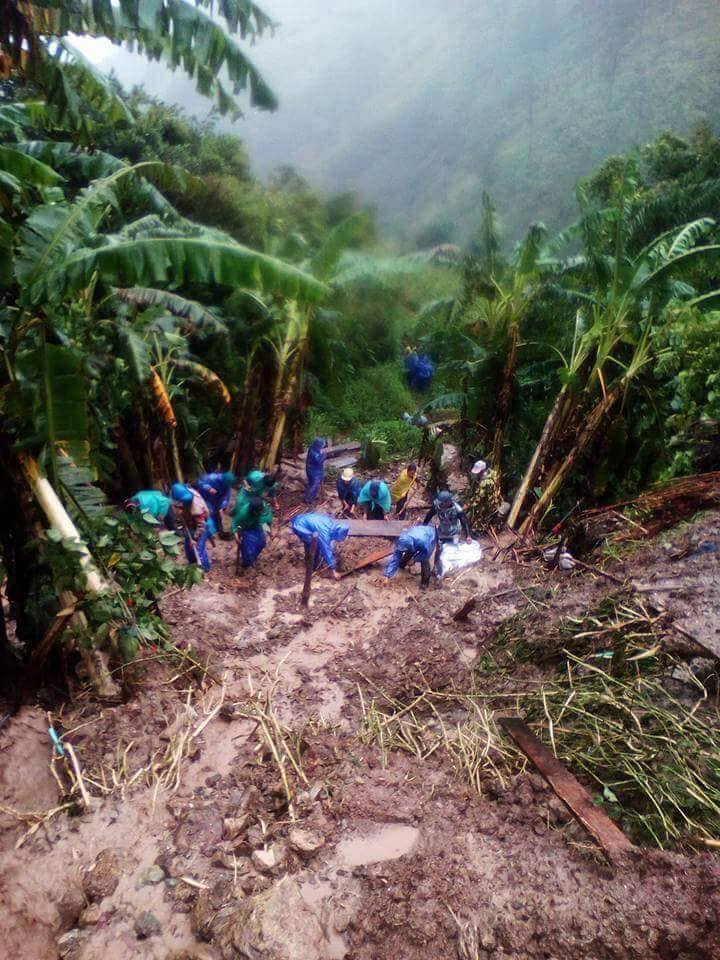 Photos credit: UCCP; Teams search for survivors and bodies in the wake of mudslides caused by Typhoon Ompong.