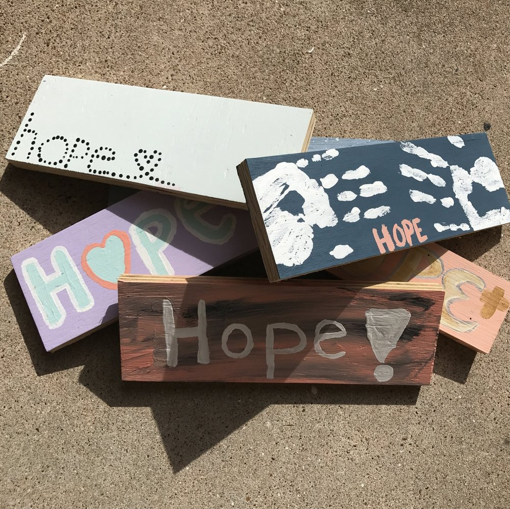 """Photo credit: Danielle Cox   Homeowners recovering from Hurricane Harvey in Galveston County, TX who receive assistance from volunteers also receive a """"sign of hope."""""""