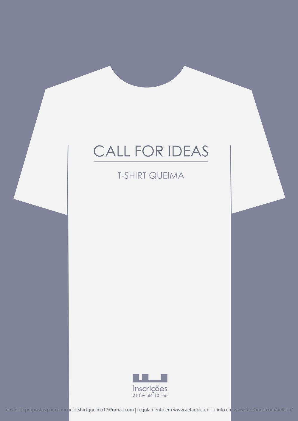 O concurso para o desenho da t-shirt da Queima das Fitas AEFAUP 2017 é organizado e promovido pela Associação de Estudantes da Faculdade de Arquitetura da Universidade do Porto. Pretende-se que, com este concurso, os alunos da FAUP possam ter a oportunidade de desenhar uma t-shirt a utilizar na Queima das Fitas deste ano que represente a sua Faculdade e os seus estudantes. A Tshirt será utilizada na Queima das Fitas de 2017 e comercializada na AEFAUP durante o resto do ano. O concurso decorrerá entre 21 de Fevereiro e 10 de Março, sendo anunciado a proposta vencedora dia 16 de março . O prémio para o vencedor do concurso será um vale de 40 € para ser usado na Livraria da AEFAUP.