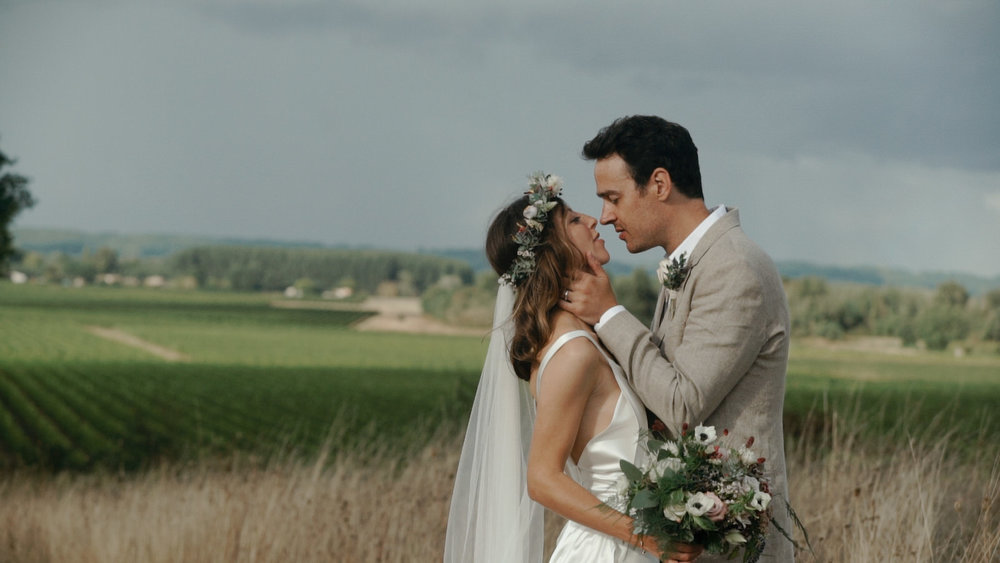Bride and Groom at the Chateau Rigaud in France