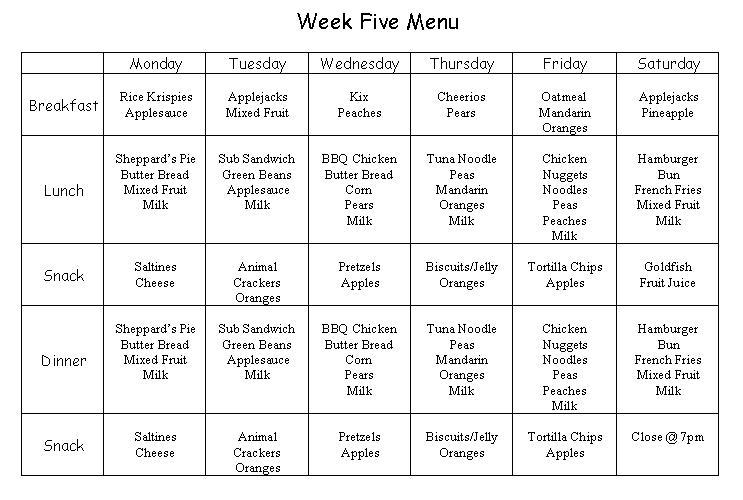 Sample daycare menus related keywords sample daycare for Cacfp menu template