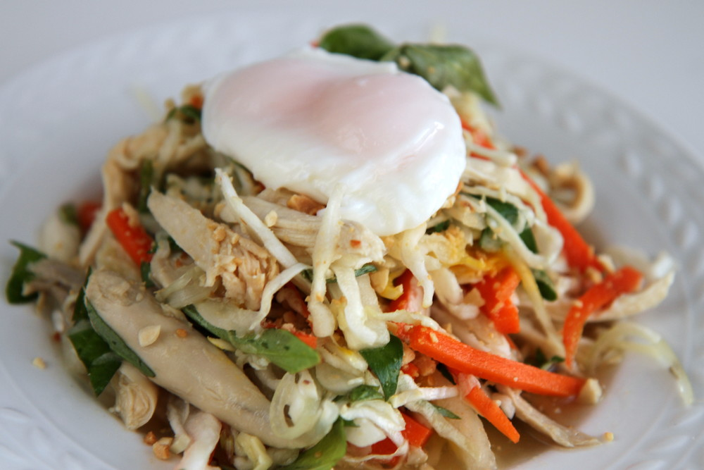 Poached egg (with 2 yolks!) on top of Vietnamese Chicken Salad
