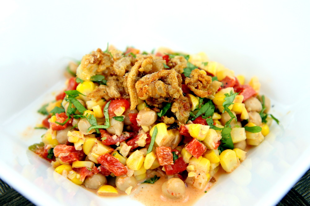 Succotash Salad Topped with Fried Chicken Skins