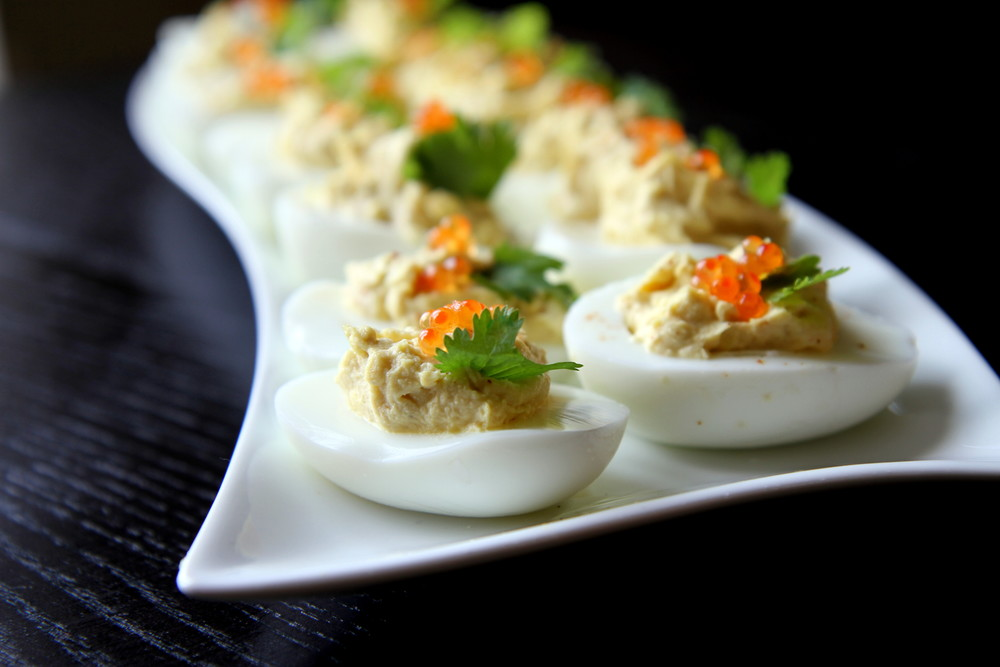 Devilled Eggs Topped with Caviar