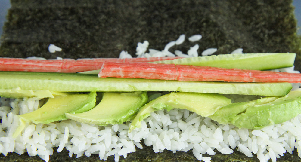 Inside the Lion King Roll: Rice, cucumber, imitation crab and avocado