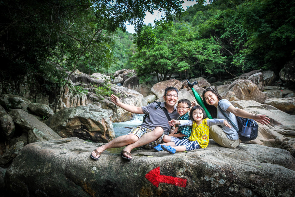 Family picture at Ba Ho Falls in Nha Trang