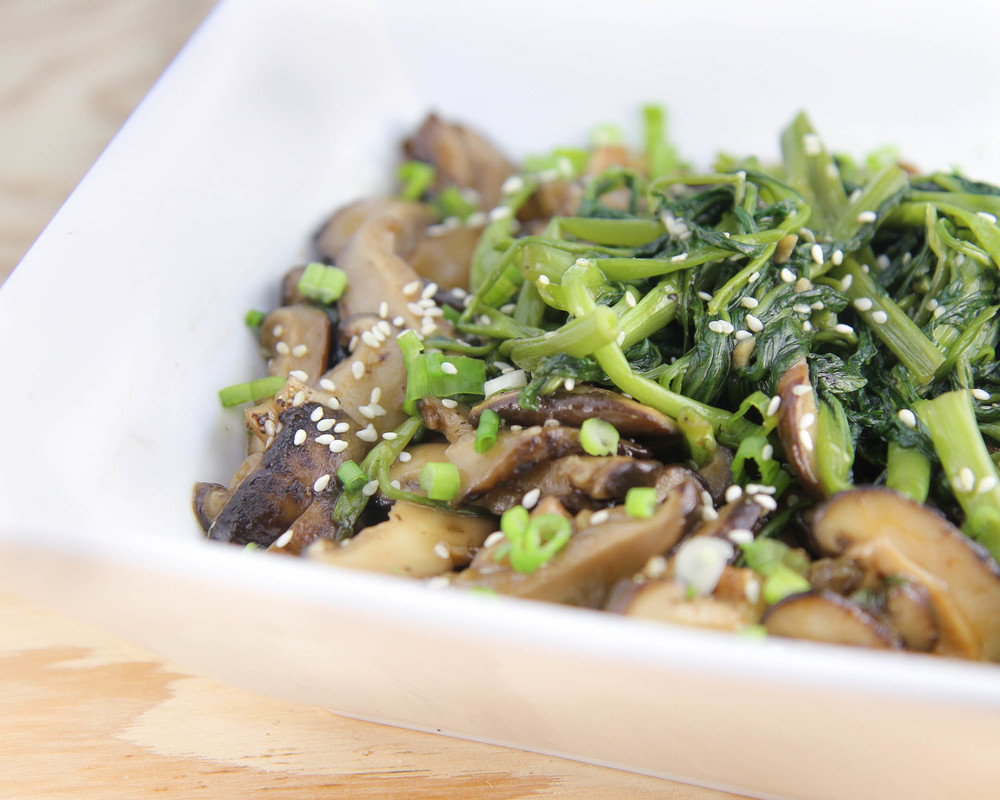 Vietnamese Stir-Fried Water Spinach and Shitake Mushrooms