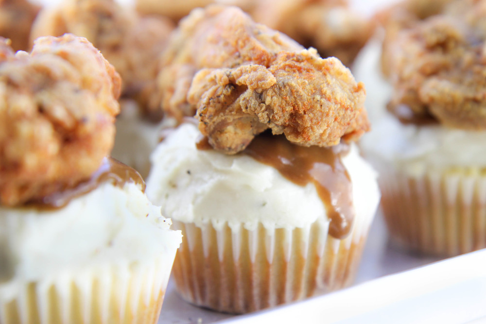 savory cupcake recipe fried chicken mashed potato gravy corn bread cupcake