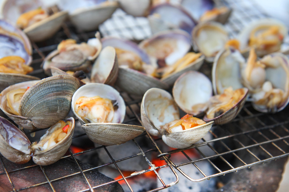 cooking clams over open fire