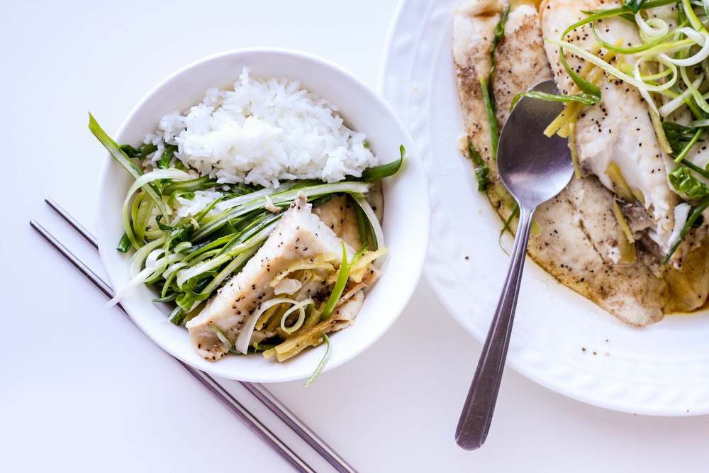 Steamed white rice with steamed Tilapia