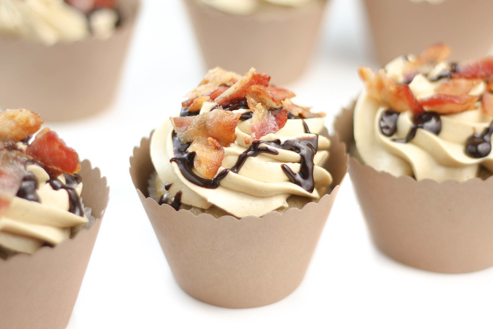 The Elvis: Banana Cupcake with Peanut Butter Swiss Meringue Frosting & Bacon