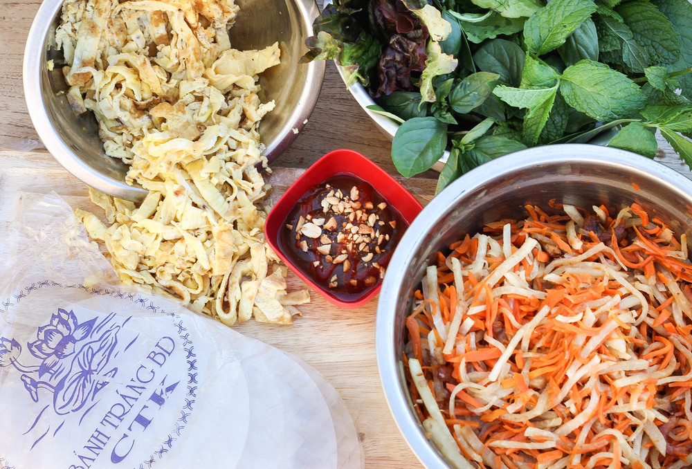 Ingredients for Vietnamese Jicama and Carrot Spring Rolls (Goi Cuon Bo Bia)