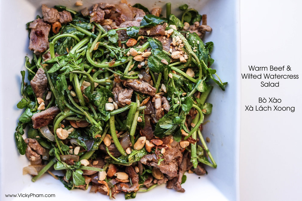 warm beef wilted watercress salad vietnamese bo xao xa lach xoong