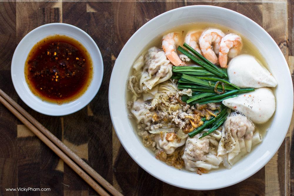 Vietnamese Egg Noodle Wonton Soup (Mì Hoành Thánh)with shrimp, fish balls and garlic chives