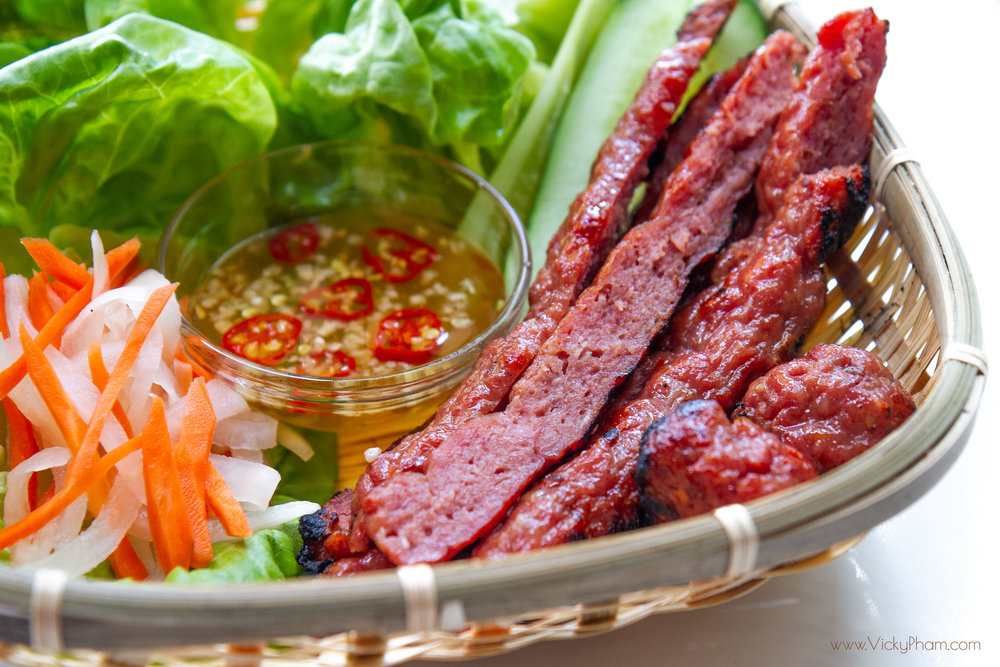 Vietnamese Grilled Pork Sausage  (Nem Nuong). Please don't steal my pictures. Yes, I'm looking at you Vietnam tour sites!