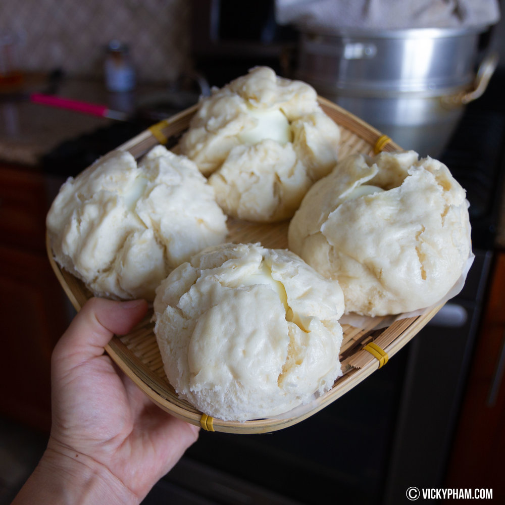 Vietnamese Steamed Pork Buns (Banh Bao) after steaming