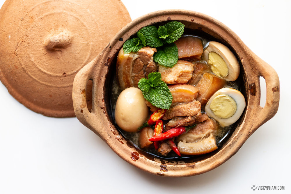 Vietnamese Caramelized and Braised Pork Belly with Eggs (Thit Kho Tau)