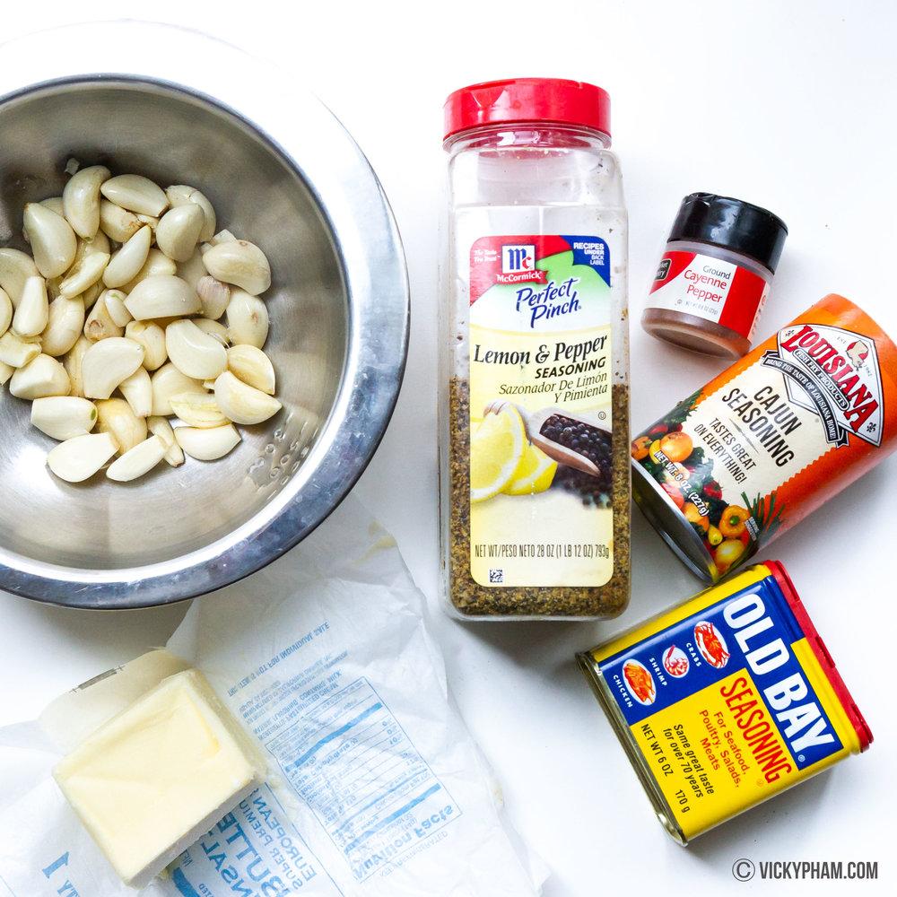 Seafood Boil Sauce: Butter, Garlic, lemon pepper, cayenne, Cajun seasoning and Old Bay Seasoning.