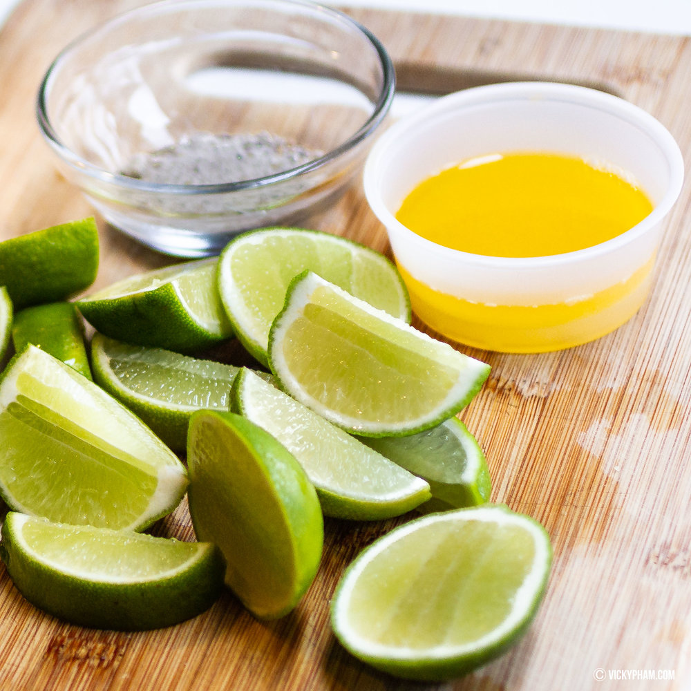 Must have these on the side! Limes, butter and salt/pepper mixture.