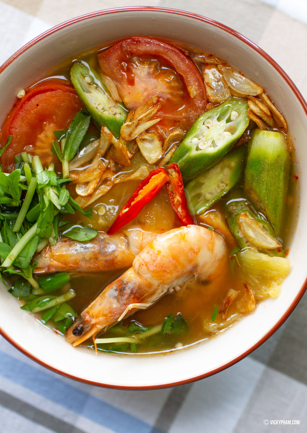Vietnamese Sweet & Sour Shrimp Soup with Pineapple (Canh Chua Tom Nau Thom)