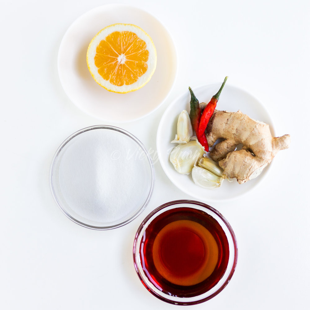 Ginger Fish Sauce Ingredients: Lemon, garlic, chili peppers, ginger, fish sauce and sugar