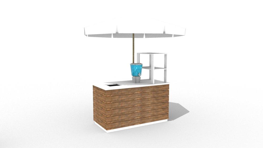 """Towel Station w/ Cart Enclosure + Display 60"""""""