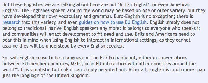 English: no longer an official EU language?