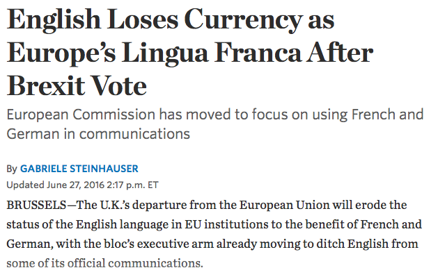 English Loses Currency as Europe's Lingua Franca After Brexit Vote