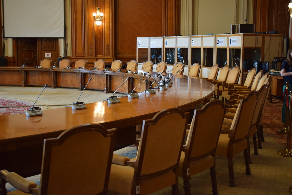 A meeting room in the Palace of Parliament in Bucharest