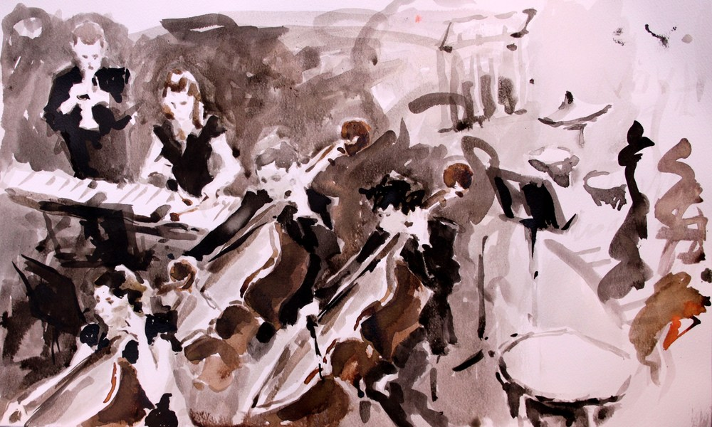 Southbank Sinfonia rehearsing, Ink. For sale contact Victoria