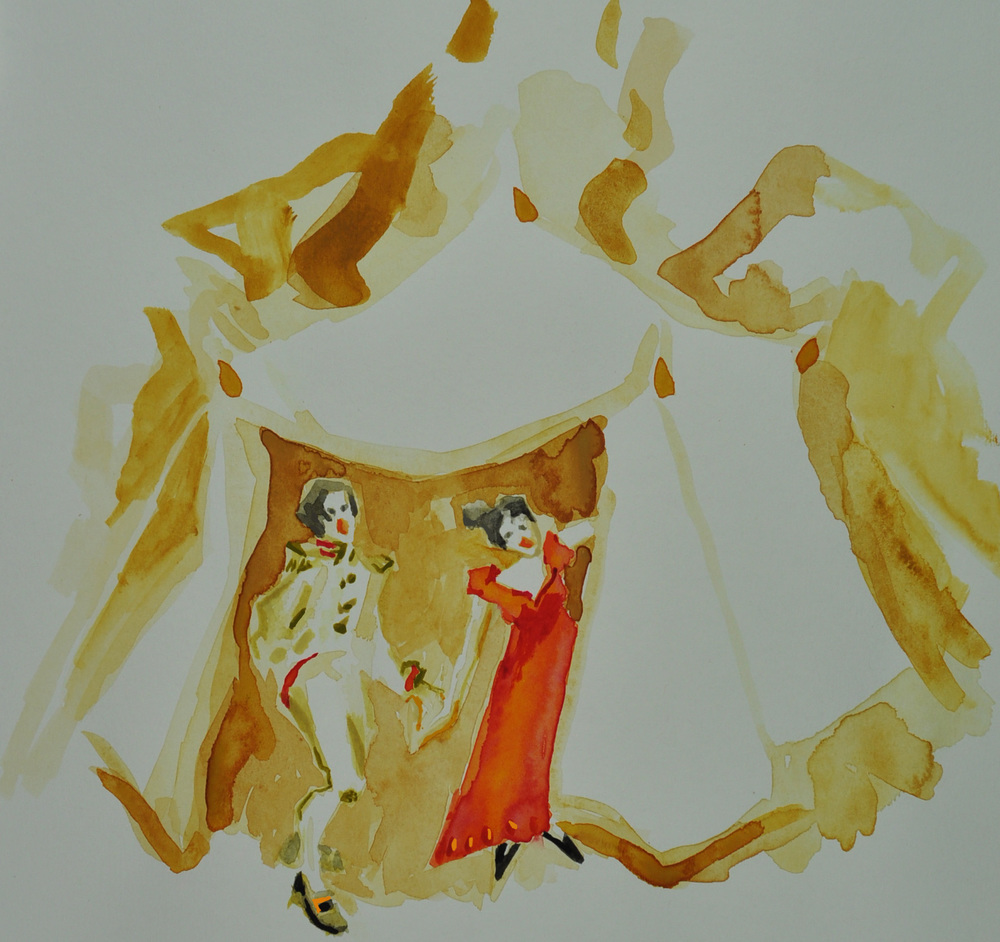 Cameo Watercolour by Victoria Rees for Garsington Stole from Eugene Onegin
