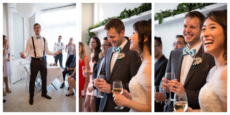 Jocelyn & Andre's Brooklyn Wedding at ICI. Images by Taylor Barker, assitant to Kamila Harris, on July 11, 2015 - The best man, Andre's brother, speaks to the couple, family and friends