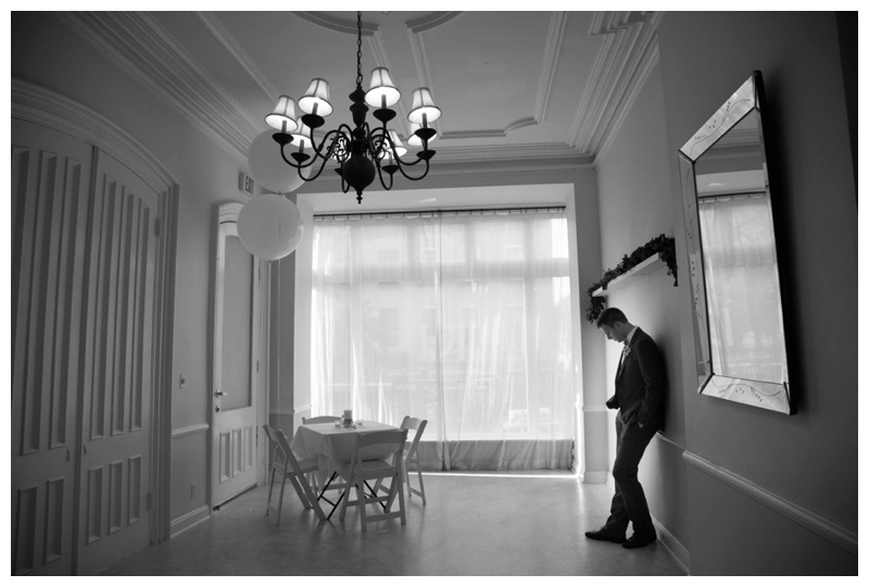 Jocelyn & Andre's Brooklyn Wedding at ICI. Images by Taylor Barker, assitant to Kamila Harris, on July 11, 2015 - Andre practices his vows moments before the ceremony