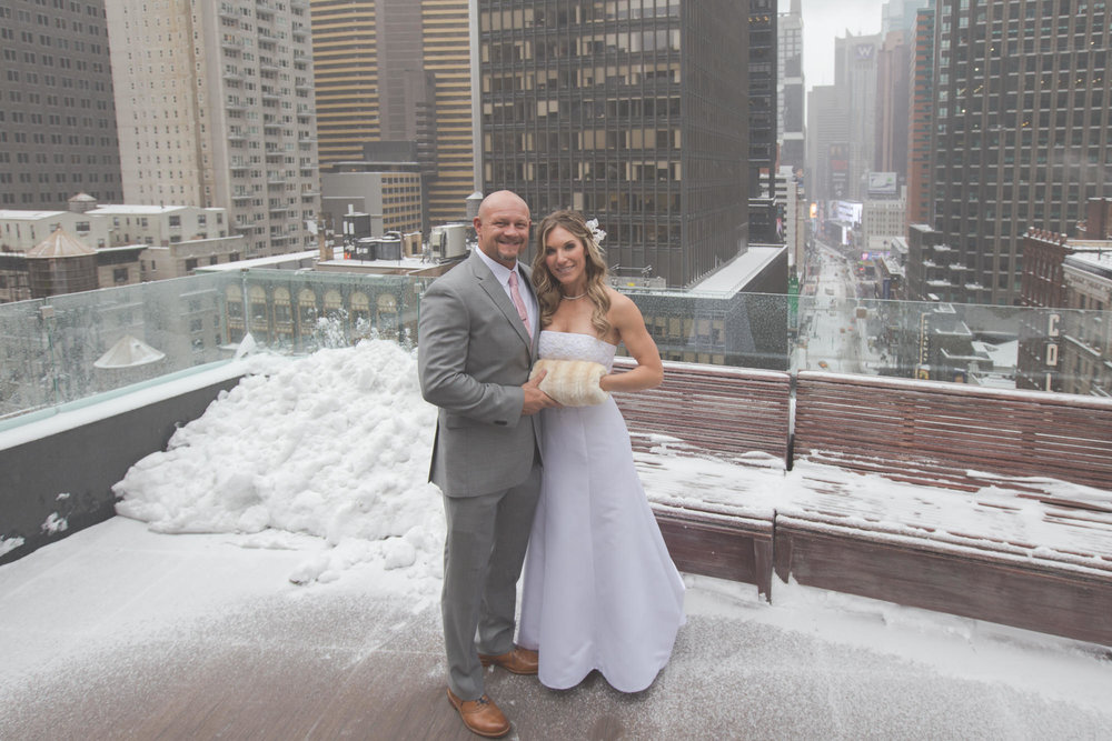 snowy New York City elopement