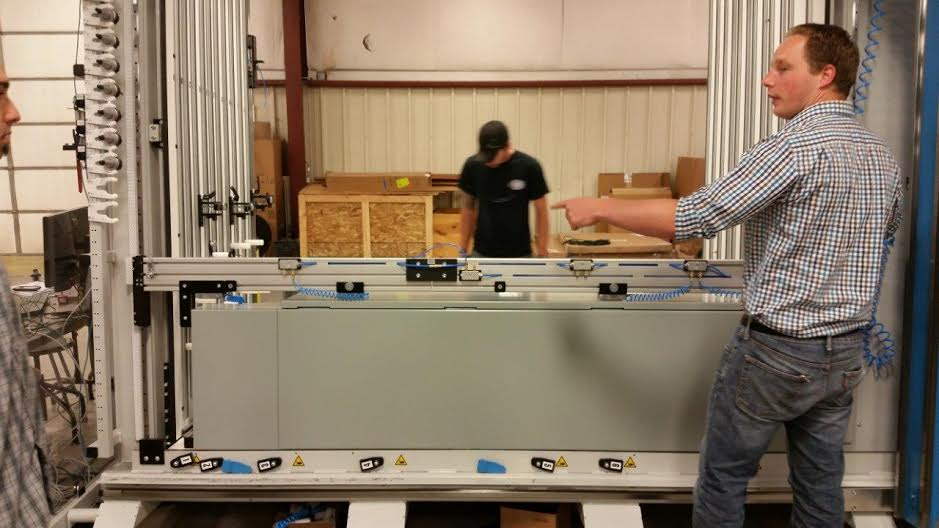 On this day of training, some of the skills the team learned from Stefan Gottschalk (above)  was  loading enclosures into the machine and utilizing the pneumatic clamp down to keep the panel from moving around.