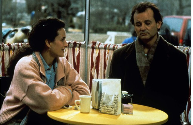 "A scene from the movie, ""Groundhog Day,"" starring Bill Murray and Andie MacDowell. Image courtesy of  IMDb ."