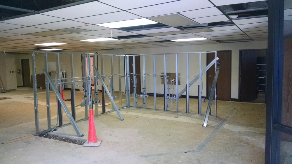 View of new reception desk from entry way.