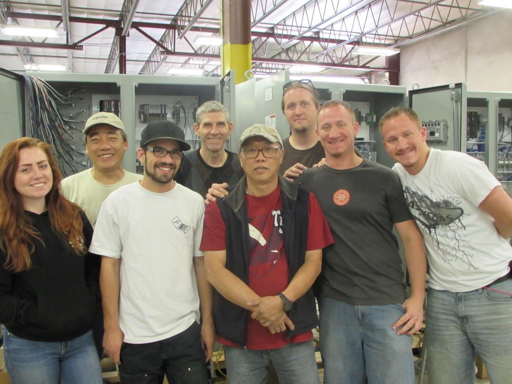 UCEC Wiring Team: (L-R):Elizabeth Berger,Ron Siauw,Ben Bellavance,Robert Rewerts, Han Siauw,Garrod Massey,Winston Bollig,Maverick Bollig