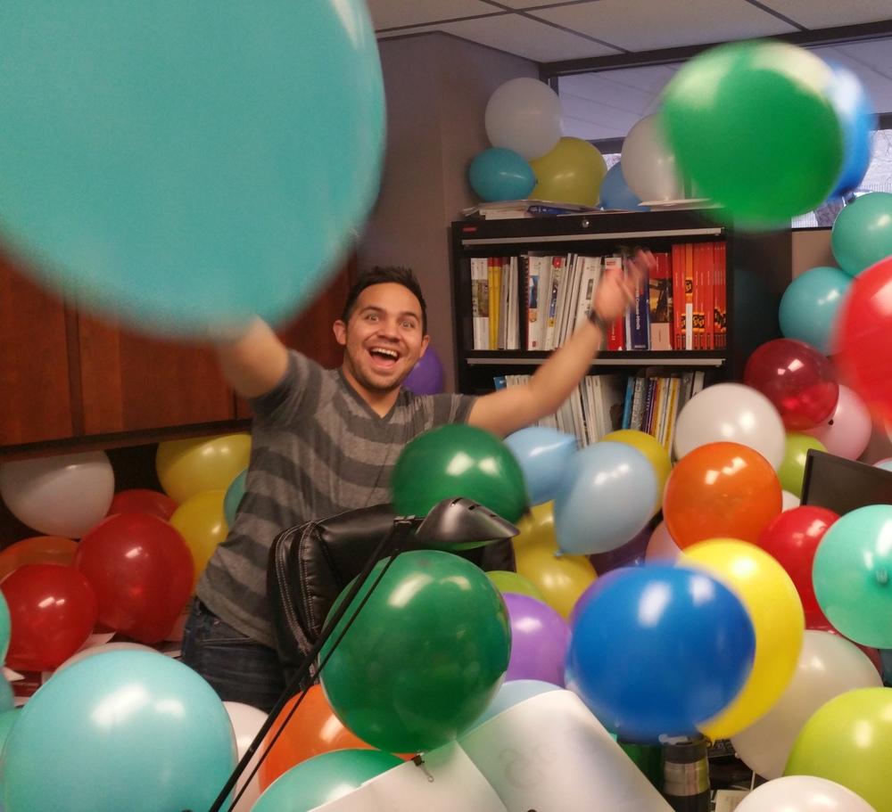 "Edgar loves a good joke (like this office ""decoration."")"