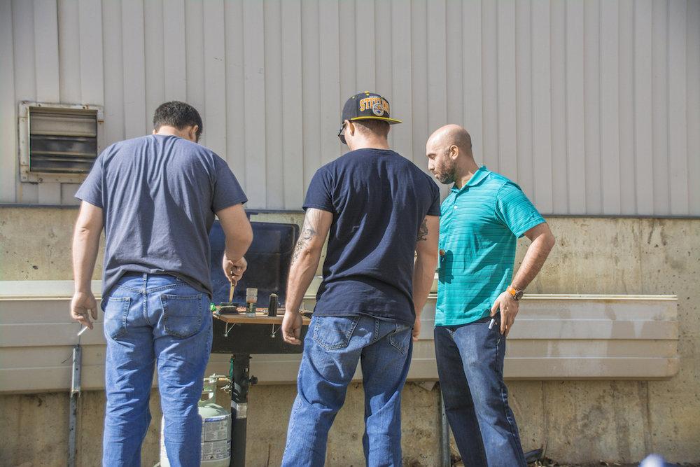 Team grilling.